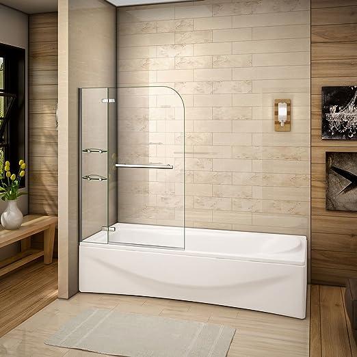 Mamparas de Bañera Biombo de Baño Abatible Cristal Templado 5 MM Estante Toallero, 120x140 CM: Amazon.es: Bricolaje y herramientas