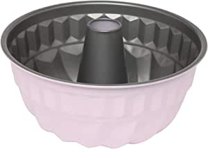 Wiltshire 40433 Two Tone Bundt Pan 21 cm, Cake Mould with Non-Stick Coating, Round Coated Pie tin with Pattern, Carbon Steel bakeware (Colour: Silver, Pastel Pink)