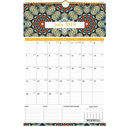 Calendario 2018 2019 pared - Calendario 2019 Calendario escolar 2018 2019 pared Calendario familiar, 17X12Inch