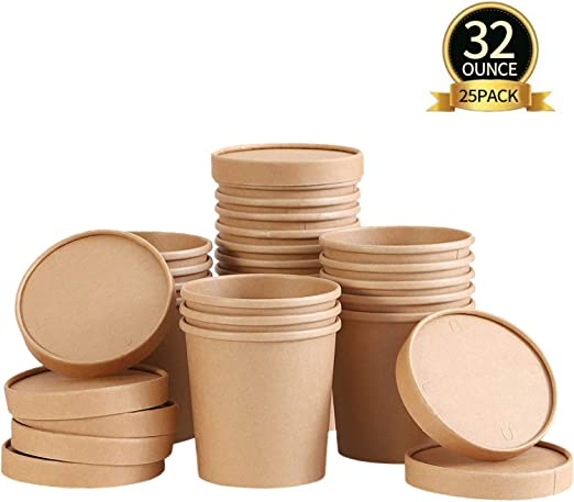 TOROTON 25 Piezas Kraft Vasos de Papel de la Sopa con Las Tapas ...