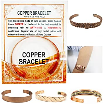 2144639293d Image Unavailable. Image not available for. Color: Copper Pain Relief  Healing Therapy Arthritis Cuff Bracelet Bangle Women Men