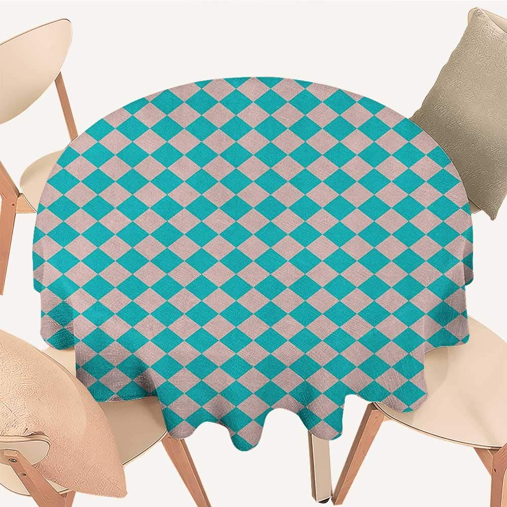 "longbuyer Geometrical Dinning Tabletop Decoration Vintage Retro 50s 60s Inspired Kitchen Tiles in Diamond Shapes Print Round Tablecloth D 54"" Turquoise and Lilac"