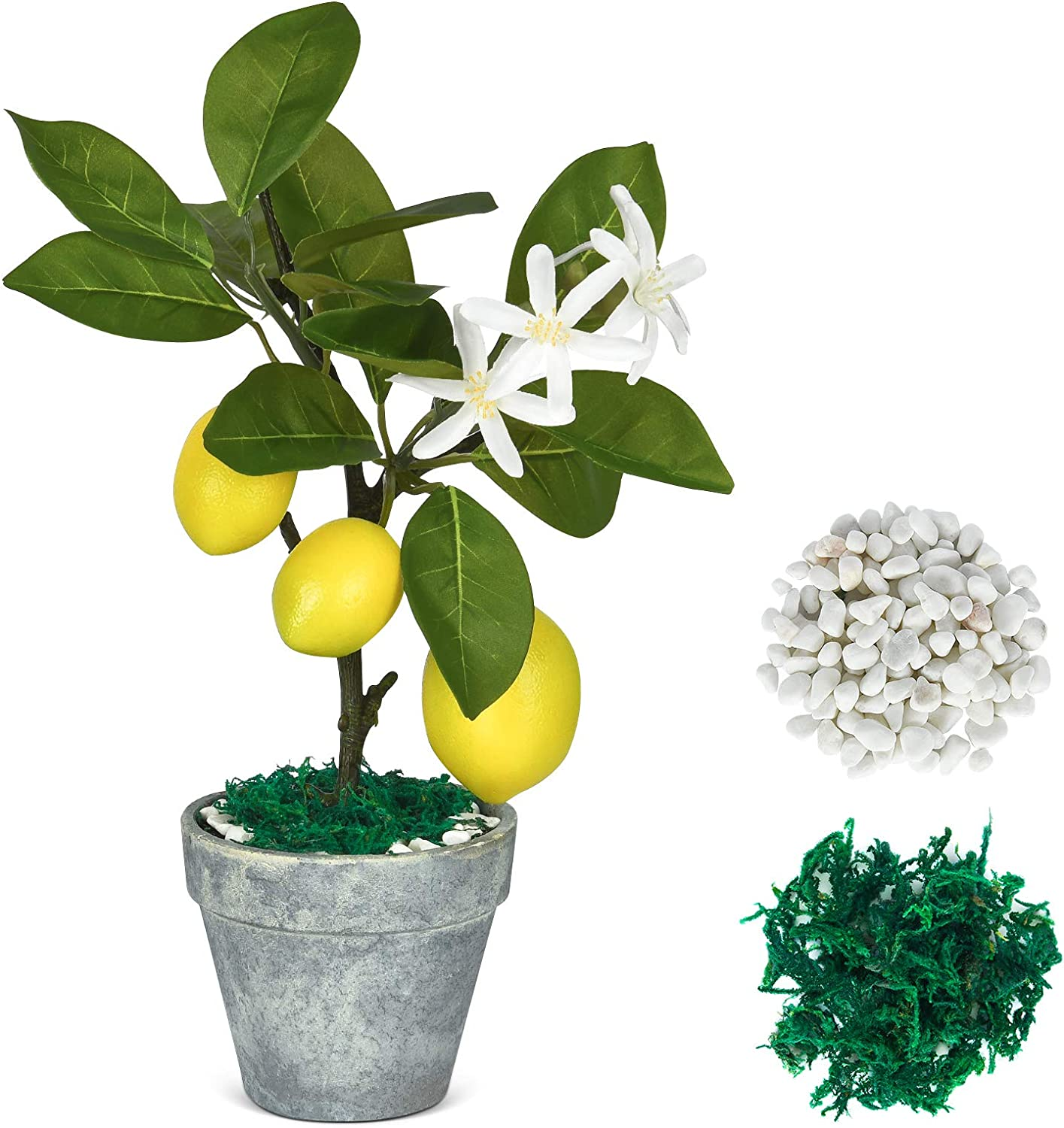 Shiny Flower Artificial Lemon Tree Topiary, Mini Potted Lemon Tree, Potted Fake Plants for Home Kitchen Office Table Decoration and Accessories