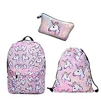 Leah's fashion Impresión Unicornio Mochila de Lona Con Cremallera Mochilas Escolares Bolsa de Hombro Bolsa Unicornio para Niñas niños Adolescentes Jóvenes