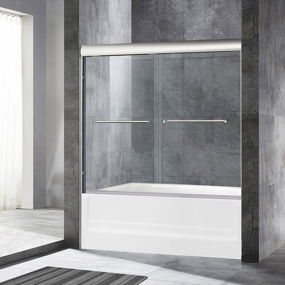 WoodbridgeBath MSDE6062-C4 Frameless Sliding Bathtub Door, 56'' to 60'' by 62'', Chrome Finish, 2 Large Metal Handles, 2-Way Sliding. Easy Open. Easy Entry. 60''x62'', MSDE6062-C by WoodbridgeBath