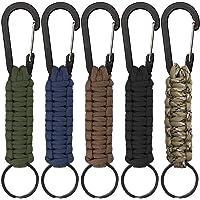 5 Stück Paracord Schlüsselanhänger mit Karabiner, Geflochtene Lanyard Ring-Haken-Clip für Schlüssel Messer Taschenlampe…