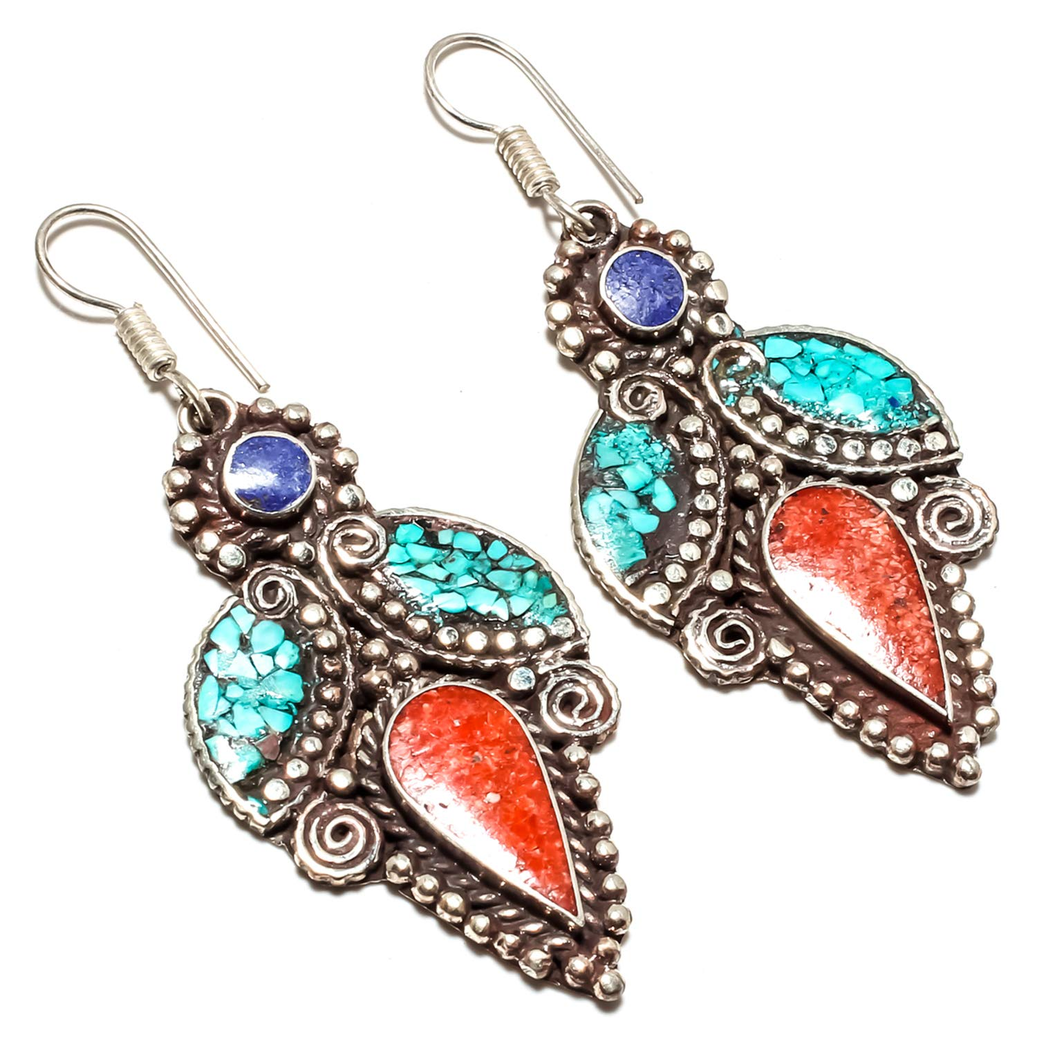 Beautiful Turquoise Glass Crystal  Drop dangle Earrings Silver Plated gift bag