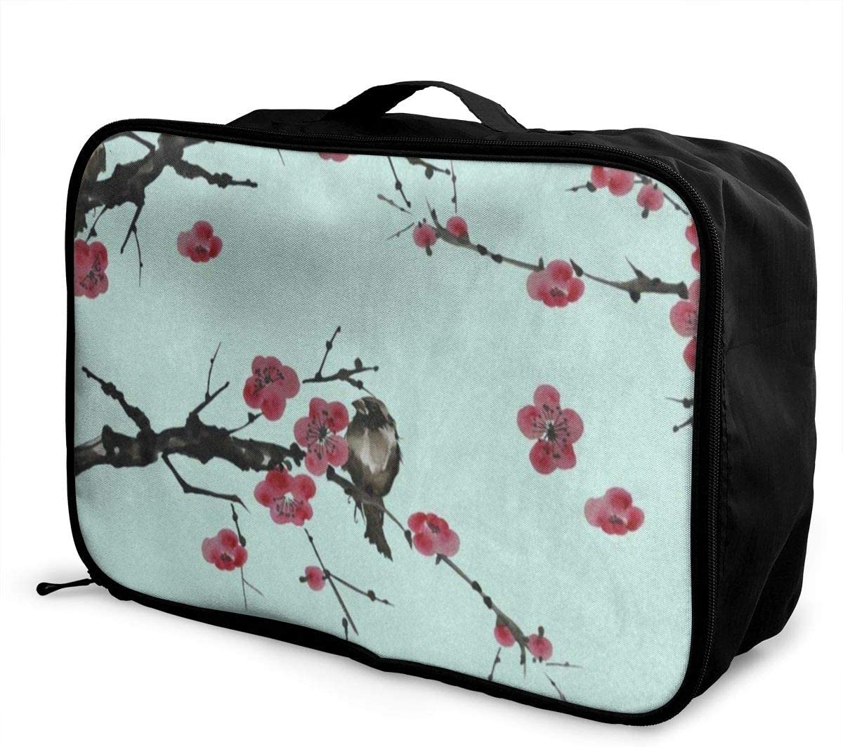Flowers Pink Bloom Tree Travel Lightweight Waterproof Foldable Storage Carry Luggage Large Capacity Portable Luggage Bag Duffel Bag