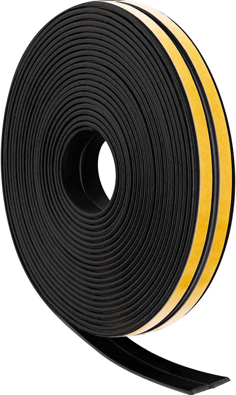 12 M Cintas de Espuma para Tiras Meteorológicas Tiras de Sellado Puerta Ventana Draft Excluder EPDM Tape Burletes Autoadhesivos para Sonido Viento Prueba de Ruido (Negro)