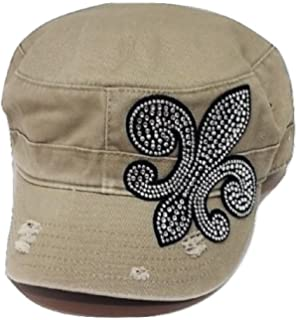 ililily Vintage Distressed Cotton Army Hat Laced Flower Military Cadet Cap