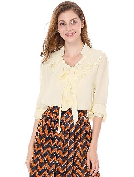 Allegra K de Volantes Cuello de señorita de Embellished Self Tie Lazo Blusa para Dama Beige