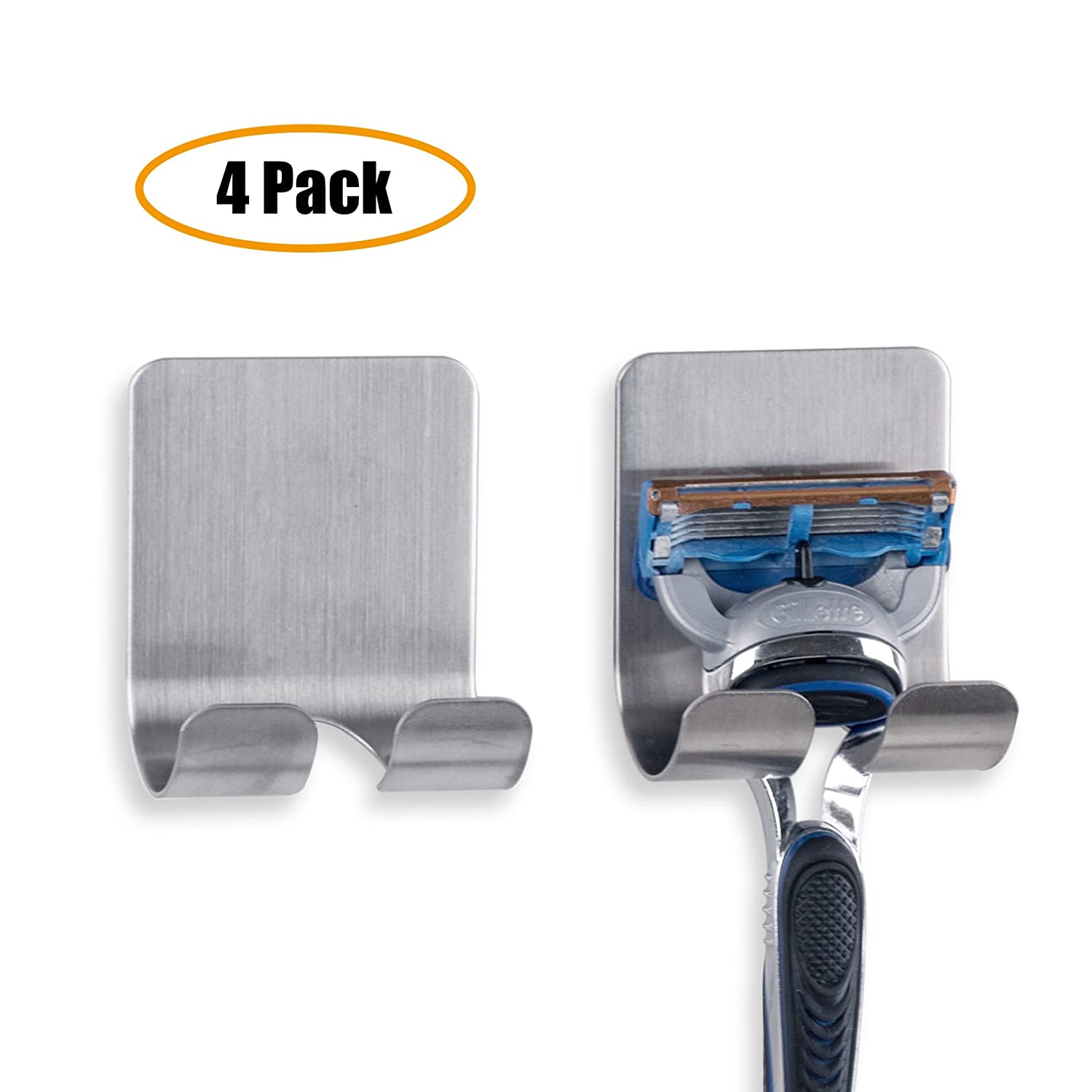 Life Creator Razor Holder Plug Holder Hook with Self Adhesive - Brushed Stainless Steel (4 Pack)