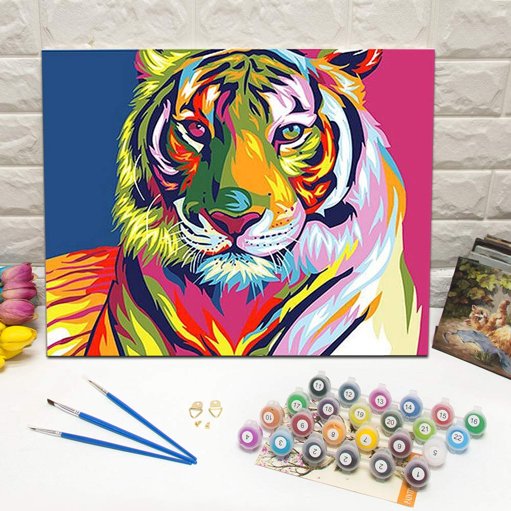 Painting with a Twist Beautiful DIY Artwork Painting Kit Easy ArtWorlds Painting by Number  Paint by Number Kits Abstract Kitten, Frameless Painting for All Ages.