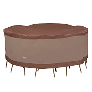 Duck Covers Ultimate Round Patio Table with Chairs Cover, 108-Inch