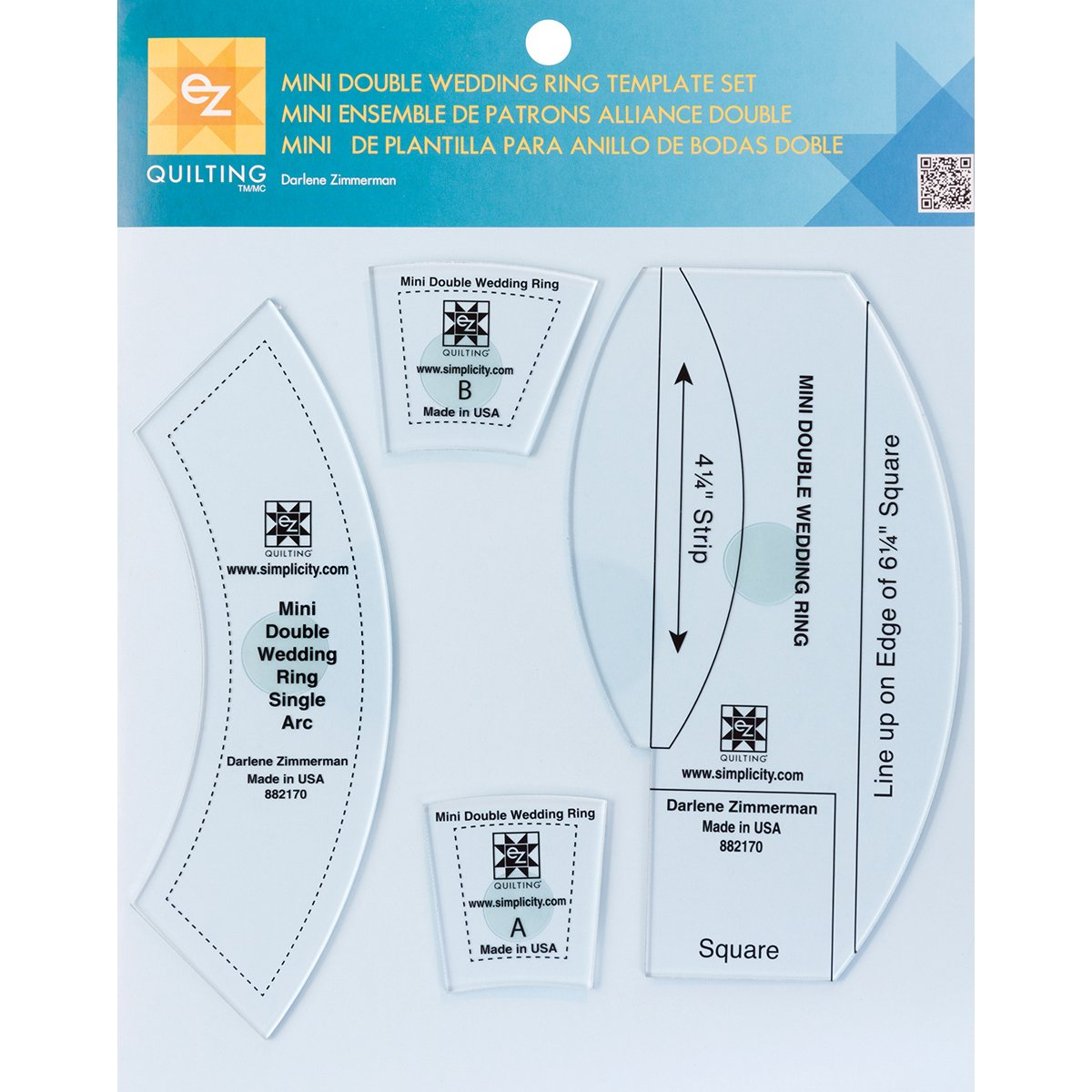 Ez Quilting Mini Double Wedding Ring Template Set, Transparent ...