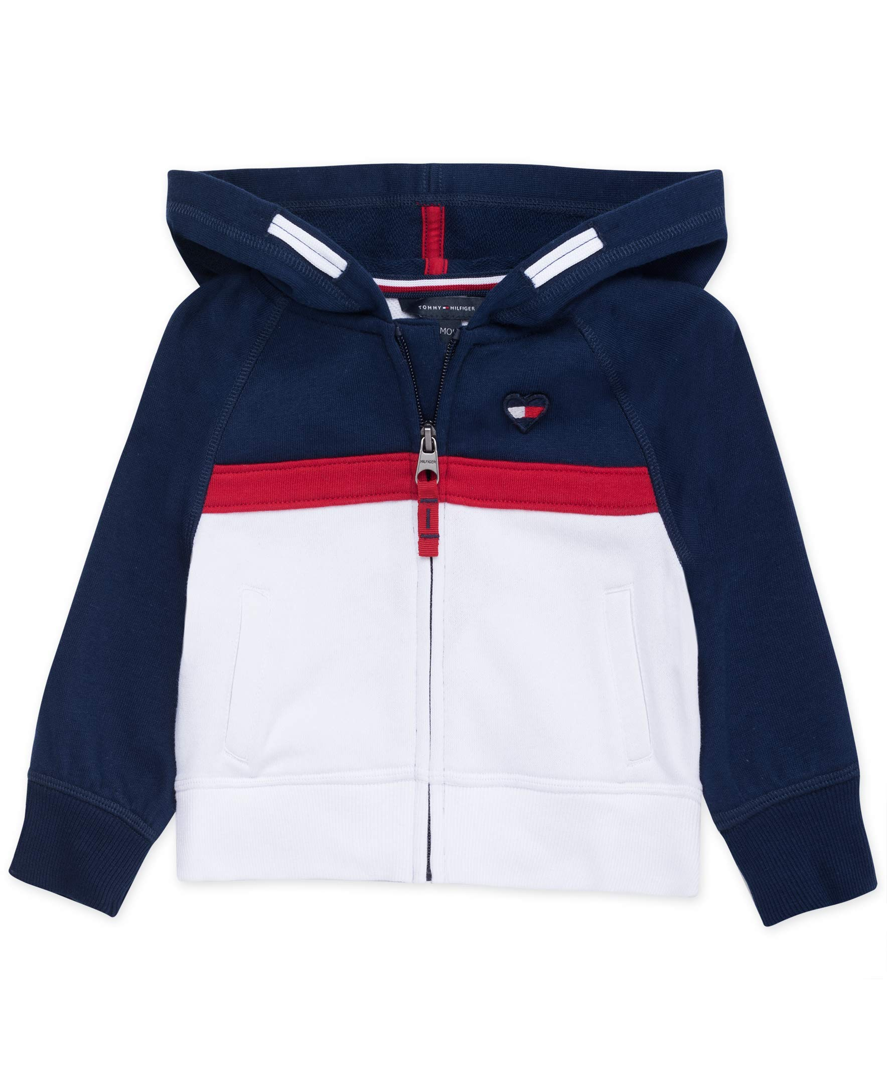 Tommy Hilfiger Baby Girls Full Zip Hoodie, Navy Block, 24M by Tommy Hilfiger