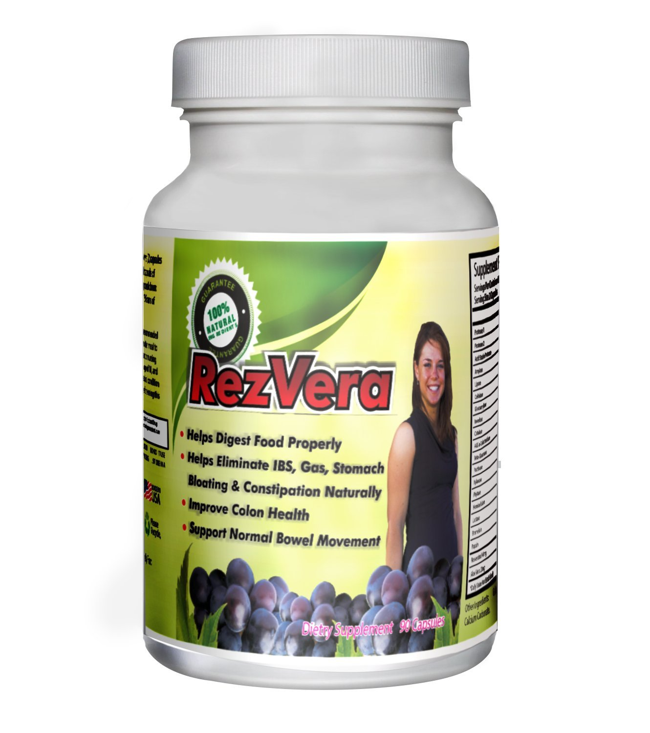 #1 Best All Natural Digestive Supplement for IBS Irritable Bowel Syndrome Stomach Bloating Gas Diarrhea Heartburn Acid Reflux Constipation Indigestion - RezVera 90 Capsules by RezVera