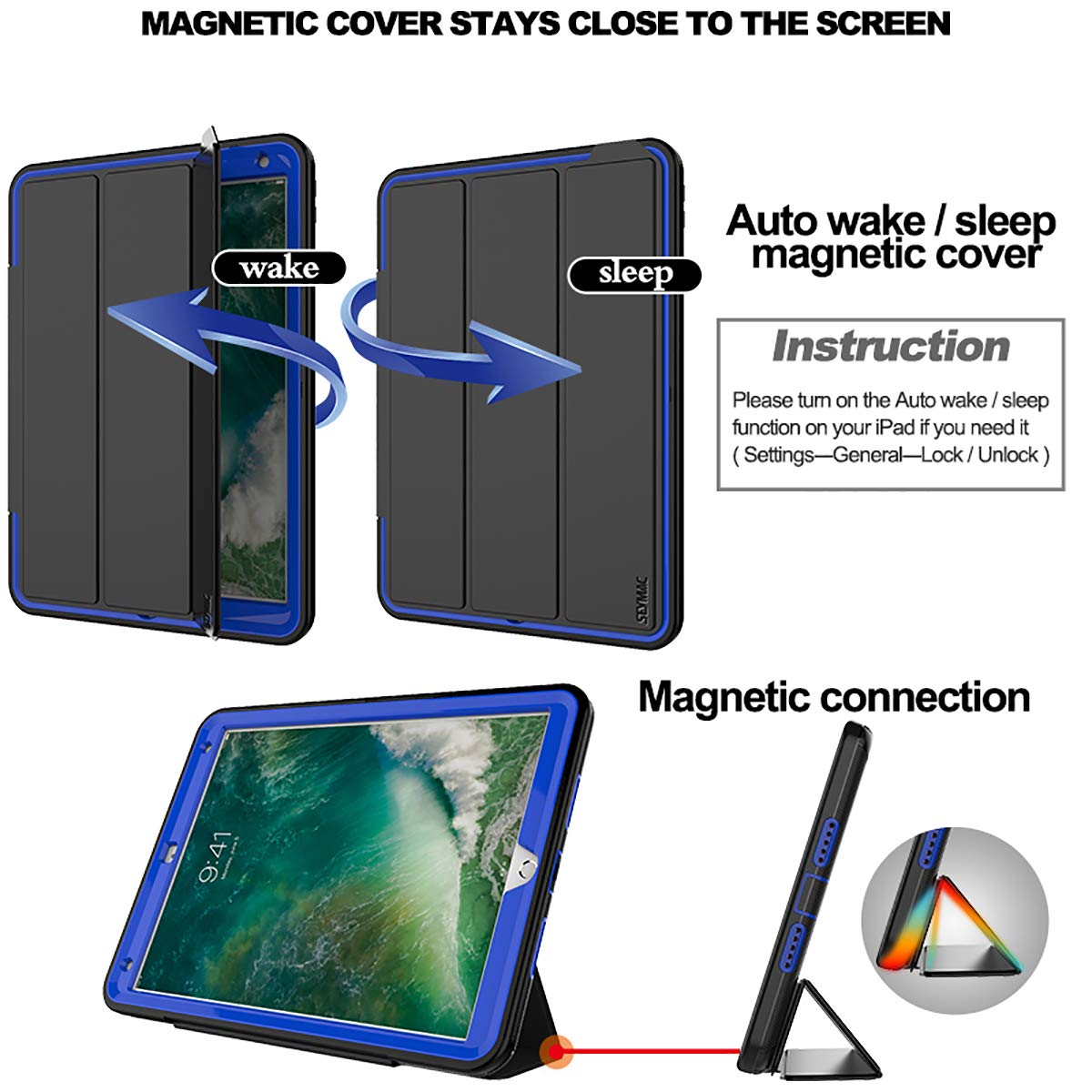 SEYMAC iPad Pro 10.5 Case, Three Layer Drop Protection Shockproof Rugged Protective Heavy Duty Folio Stand Case with Magnetic Smart Auto Wake/Sleep Cover Compatible with iPad Pro 10.5 inch-Black/Blue