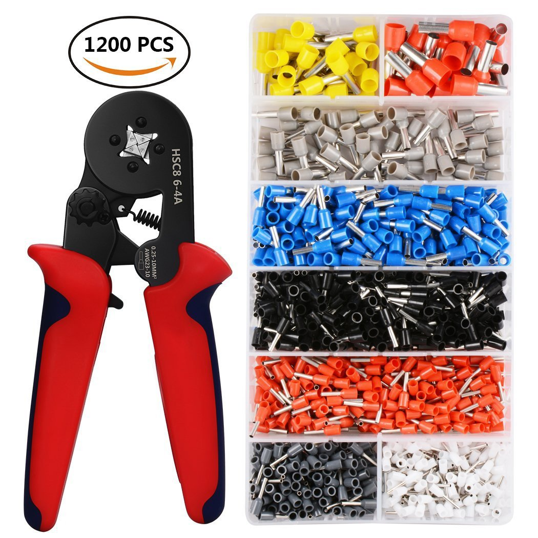 Wire Crimping Tool Kit, Baowox 0.25-10mm² Self-adjustable Ratchet Wire Crimper with 1200 Pcs AWG 23-10 Crimp Ferrule Terminals Crimper