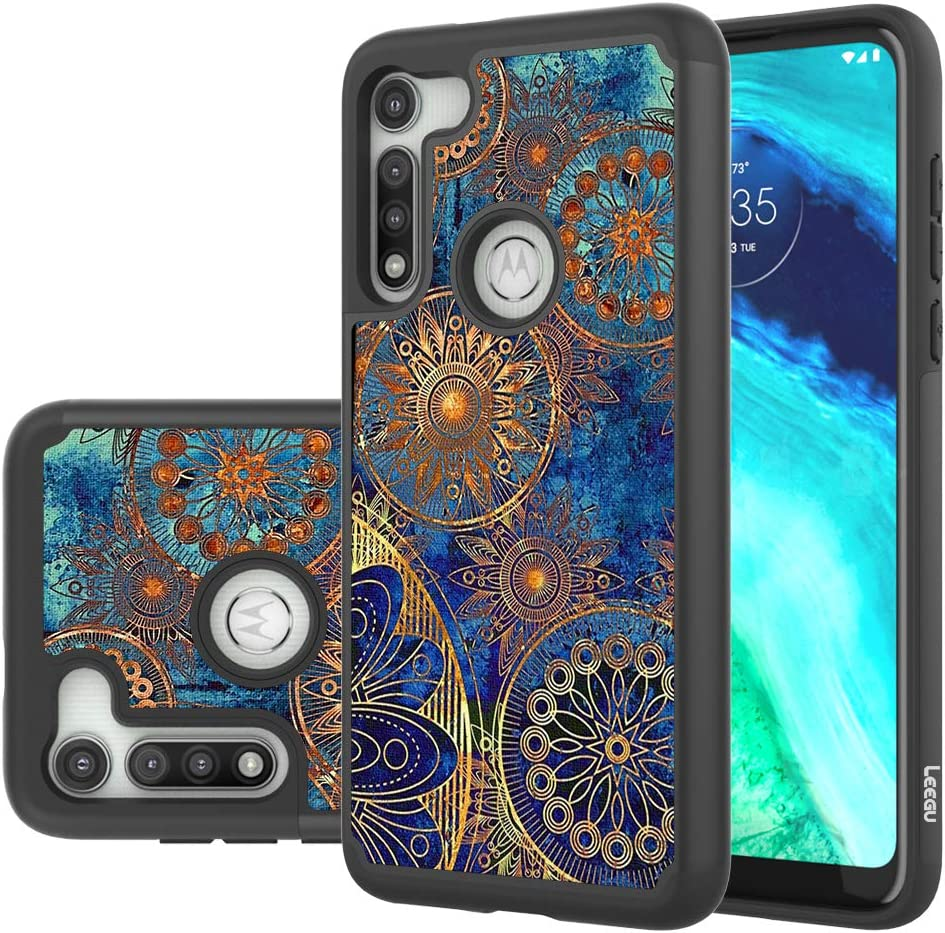 LEEGU Phone Case for Moto G Fast/Motorola G Fast, Shock Absorption Dual Layer Heavy Duty Protective Silicone Plastic Cover Rugged Cases - Gear Wheel
