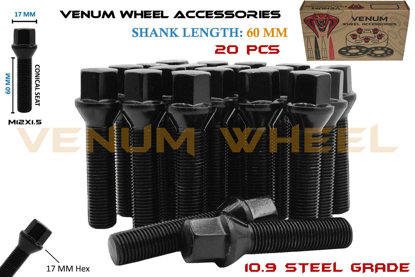 Venum wheel accessories 20 Pcs 12x1.5 (60 mm Extended Shank) Black Powder Coated Conical Seat Lug Bolts Works with BMW & Mercedes Benz Vehicles W/Factory & Aftermarket Wheels by Venum wheel accessories
