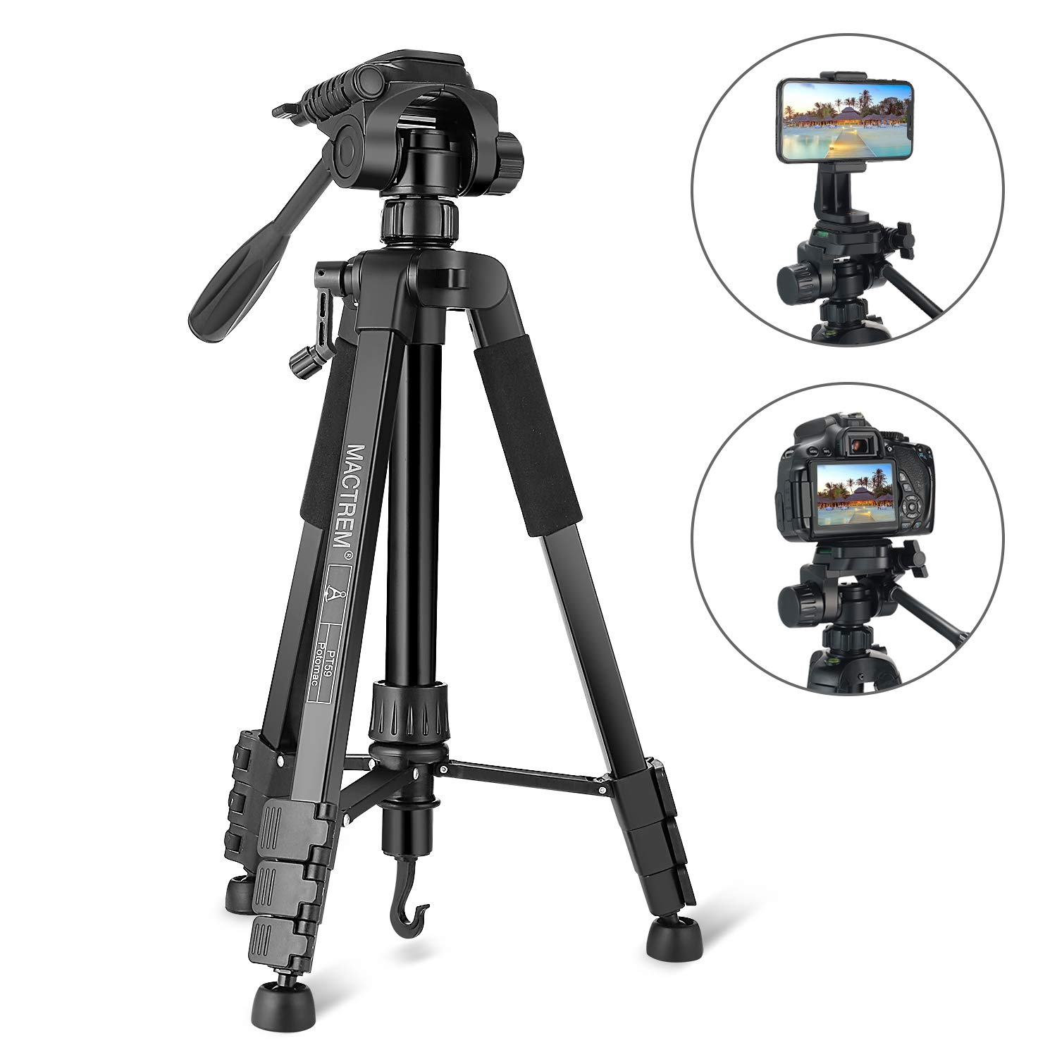 Tripod, Camera Tripod 59'' Portable Phone Tripod with Phone Holder, Video Tripod Compatible for Canon Nikon Sony Olympus DV, 360 Panorama, 2.69Lb Lightweight Aluminum Alloy with Travel Bag, 11Lb Load by MACTREM