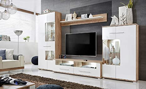 Amazon Com Saala Modern Entertainment Center Wall Unit With Led Lights Oak And High Gloss White Kitchen Dining