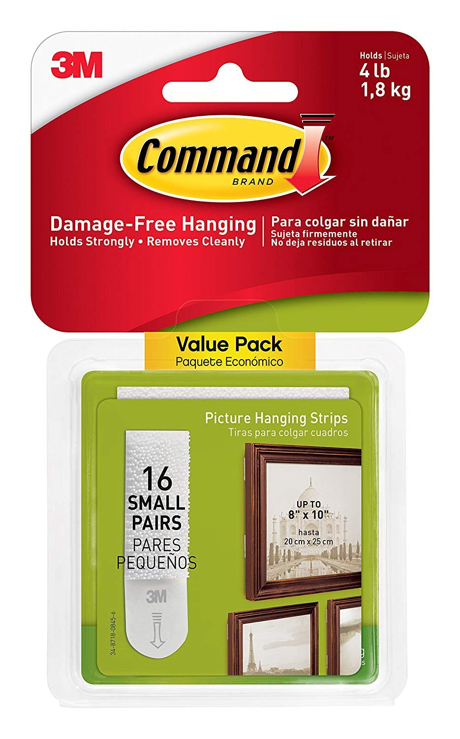 Command Picture Hanging Strips Value Pack 1ZRHJ, Small, White, 32-Pairs