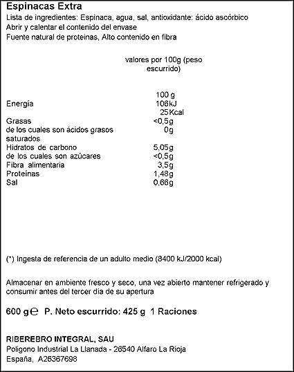 Gvtarra - Espinacas, 600 g - , Pack de 6