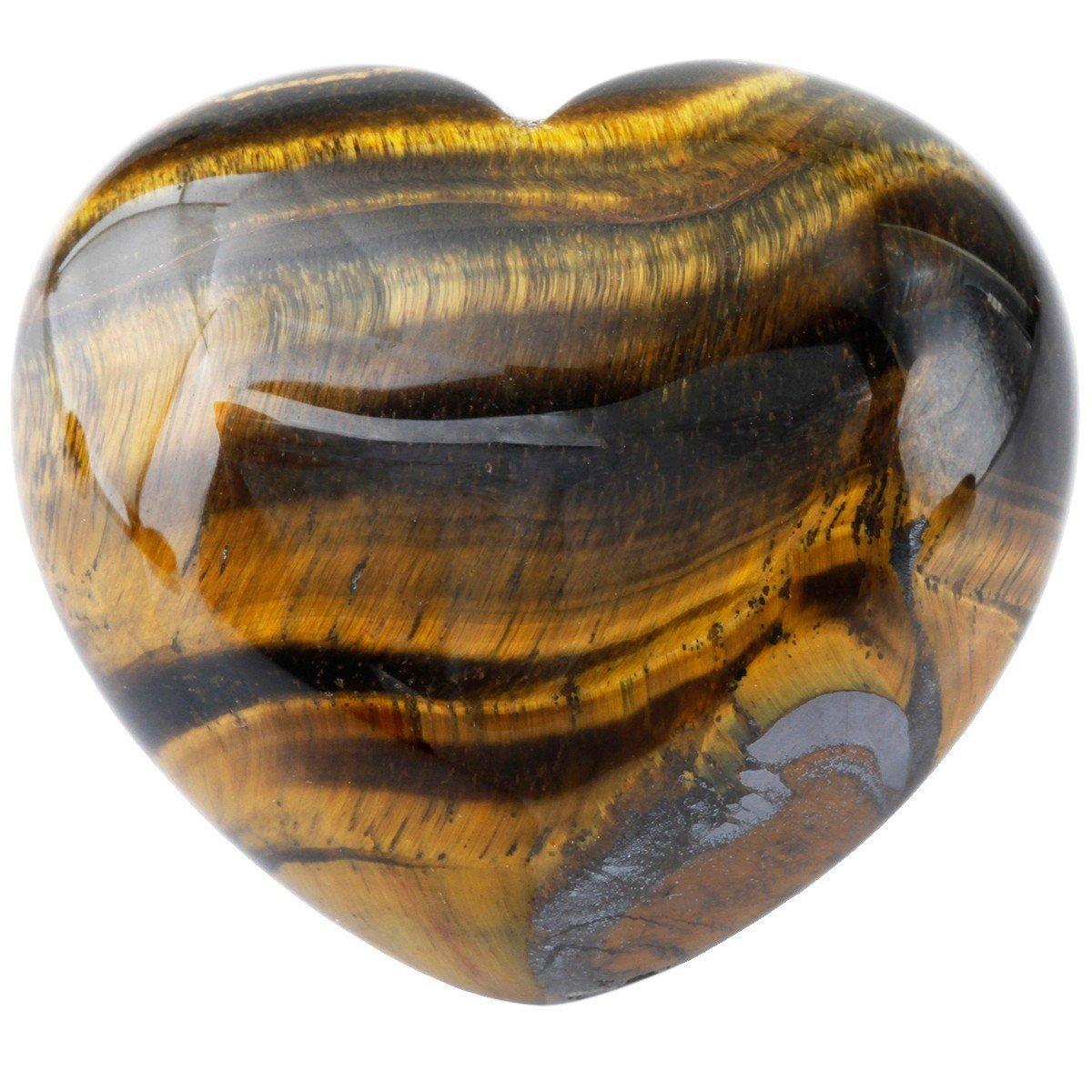 Zungtin Healing Crystal Tiger's Eye Heart Love Carved Palm Worry Stone Chakra Reiki Balancing