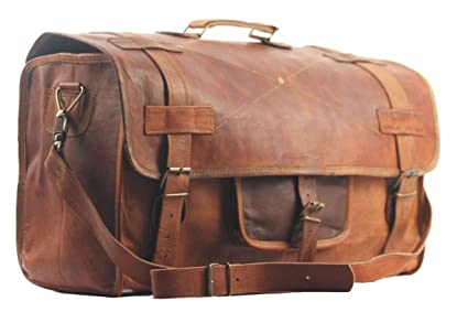 b6af9ec7d611 SBazar   20 quot  LEATHER DUFFEL VINTAGE TRAVEL BAG MEN S HAND LUGGAGE  WEEKEND HOLDALL GYM