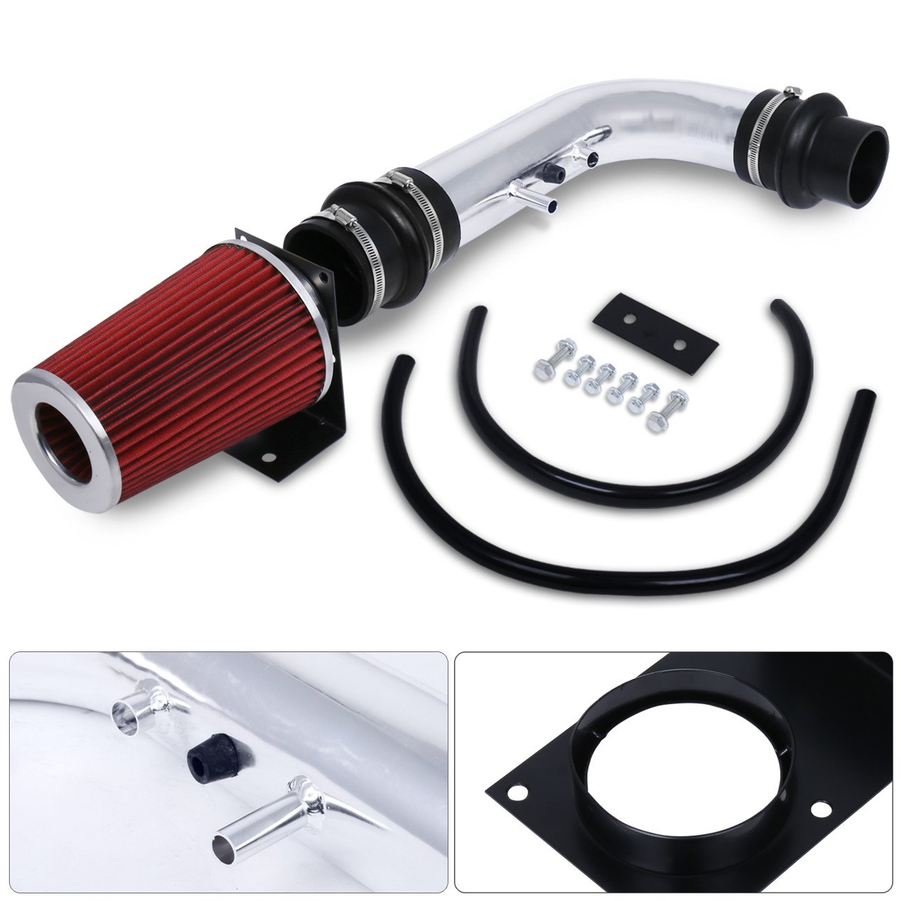 Ajp Distributors 3.5' Chrome Short Ram Air Intake Induction Kit For Ford F-150 F150/Expedition 4.6L/5.4L V8 W/Red Dry Air Filter