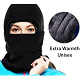 MIKK Balaclava Ski Mask - Cold Weather Face Mask Motorcycle Neck Warmer or Tactical Balaclava Hood - Plus velvet - Ultimate Thermal Retention in the Outdoors Super - Anti-sensitive(black)