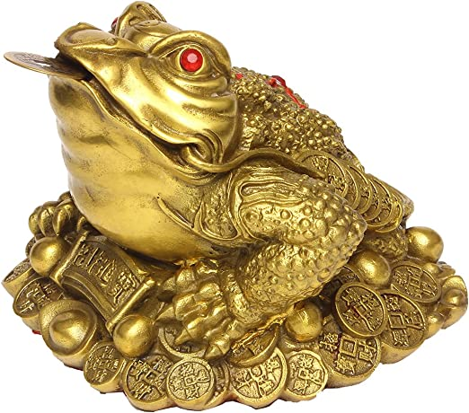 Frog Toad Bronze Figurine Statue Amulet Mini Figuring Golden Brass Animal