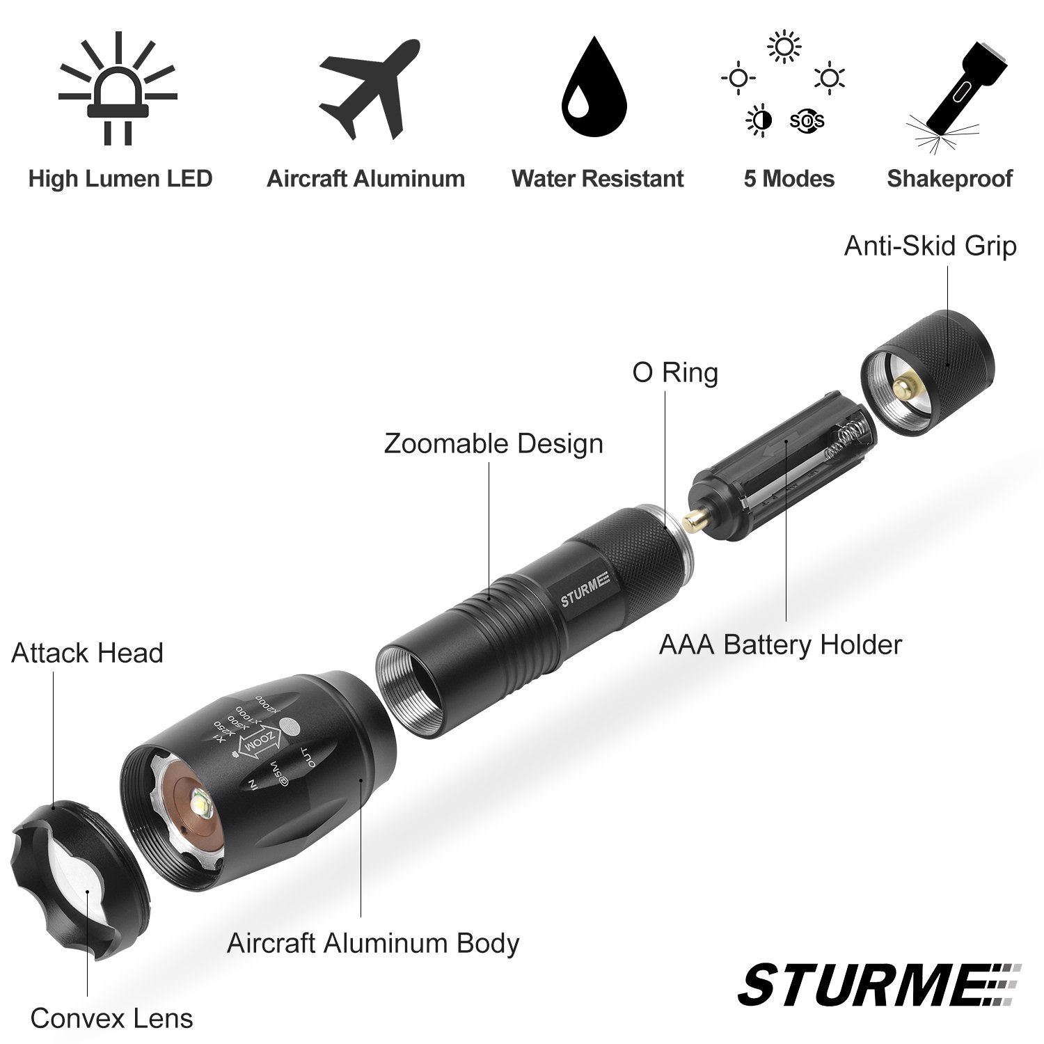 STURME Super Bright LED Torch High Lumens 1000 Feet Bright Distance Adjustable Focus LED Flashlight with 5 Modes IP65 Water-Resistant Perfect for Camping Outdoor Sports Home Use