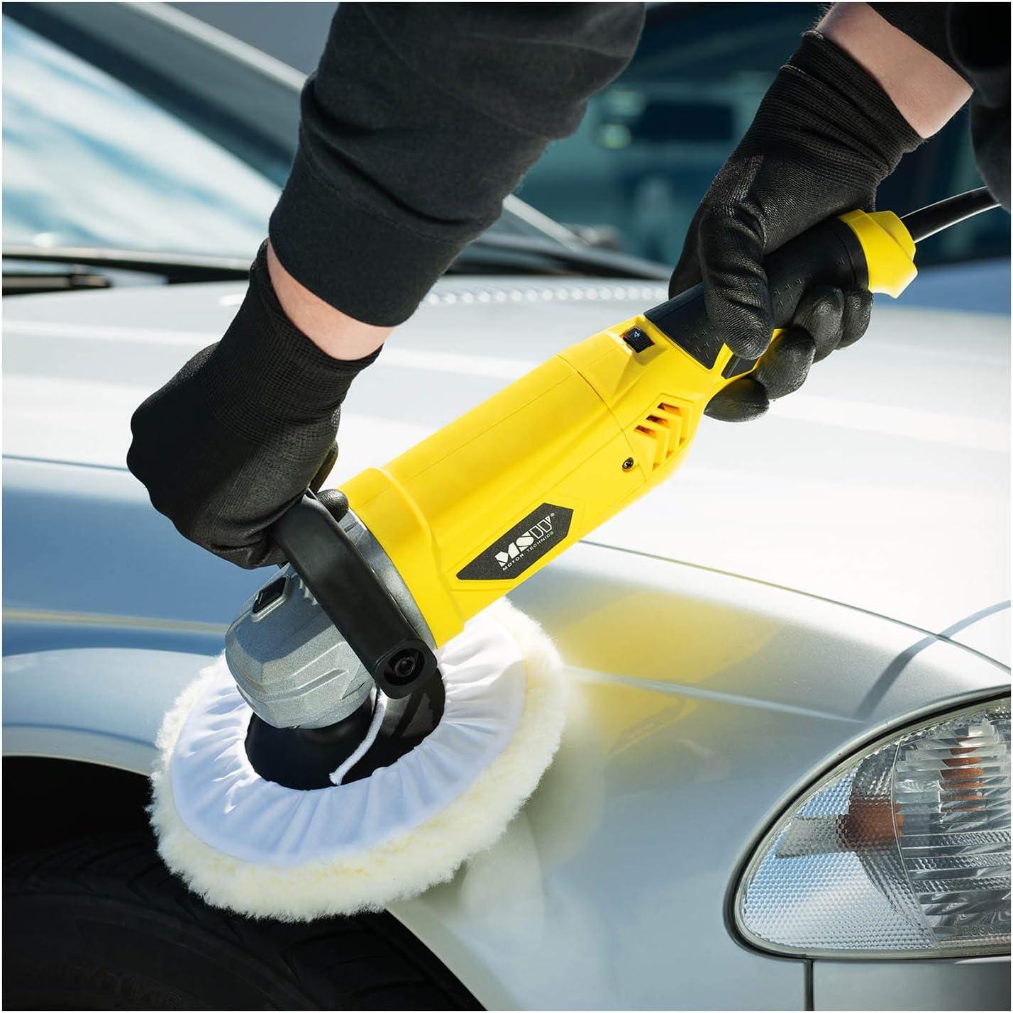 6 Speed Settings, Polishing Disc Diameter 180mm MSW Car Polisher Orbital Speed Polisher Car Polishing Machine 1200W 3300rpm MSW-ECP1200