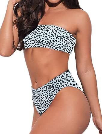 FITTOO Women Bandeau 2 Piece Set Bikini Set Crop Top Solid Color Strapless Plus Size Swimsuit High Waist