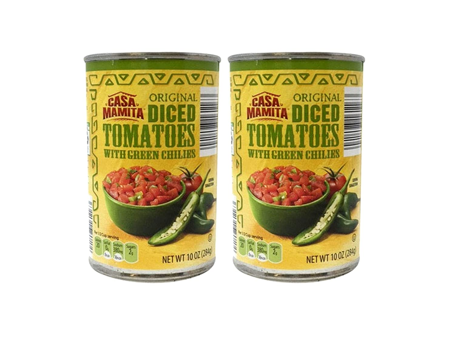 Casa Mamita Original Diced Tomatoes with Green Chilies - 2 Cans (10 oz)