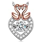 "Amazon Price History for:Dancing Heart ""Swan Kiss"" ♥Valentines Day Gift♥ 925 Sterling Silver Rose Gold 4A CZ Pendant Necklace Fine Jewelry"