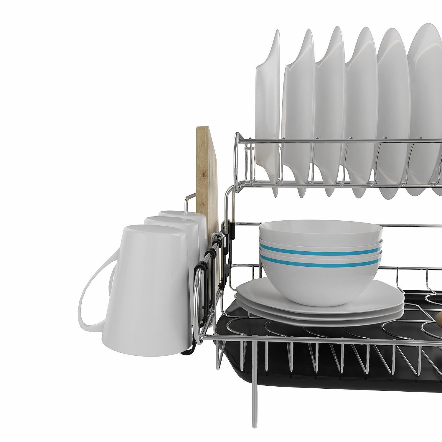 Mewalker 2 Tier Dish Drying Rack 304 Stainless Steel Professional Dish Rack with Microfiber Mat Drain Board and Cutlery Holder, Black by Mewalker (Image #6)