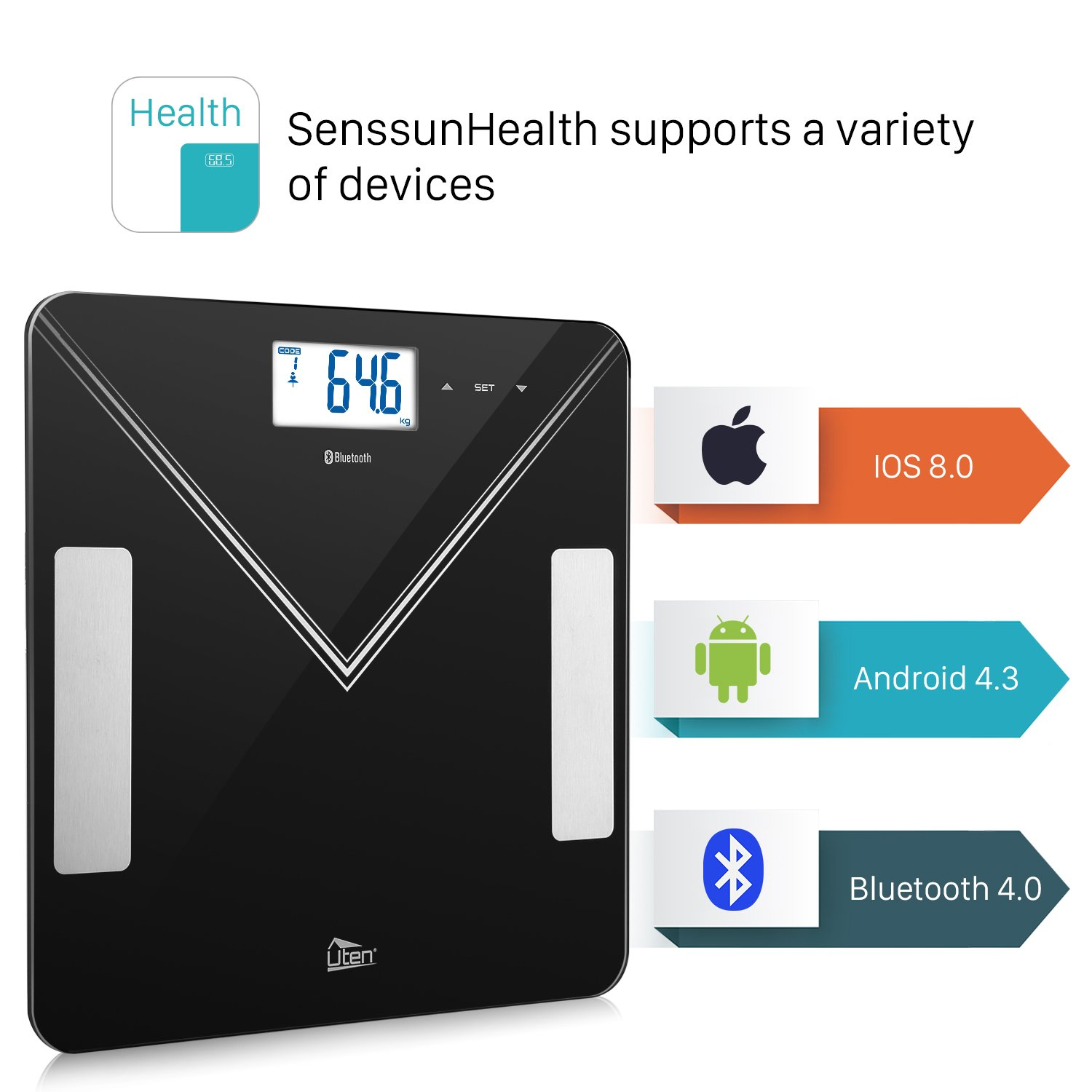 Body Composition Analyzer with iOS and Android APP with Technology Muscle Mass Uten Bluetooth Body Fat Scales Smart Digital Weighing Scales for Body Weight BMI Body Fat AMR and BMR Calorie