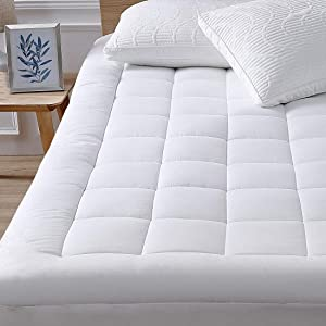 "oaskys Twin Mattress Pad Cover Cotton Top with Stretches to 18"" Deep Pocket Fits Up to 8""-21"" Cooling White Bed Topper (Down Alternative, Twin Size)"