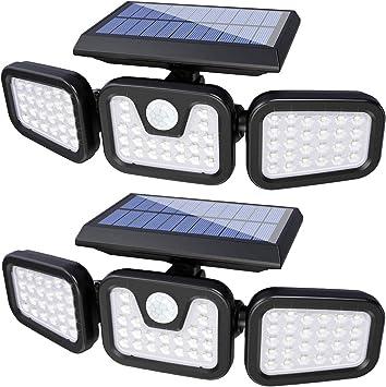 74LED 3 Head Security Detector Solar Spot Light Motion Sensor Outdoor Floodlight