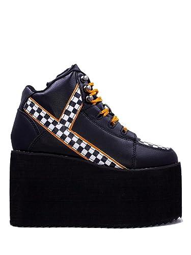 2f95e449a8b Amazon.com: Y.R.U. Youth Rise Up Qozmo Checker Flag Platform Sneaker ...