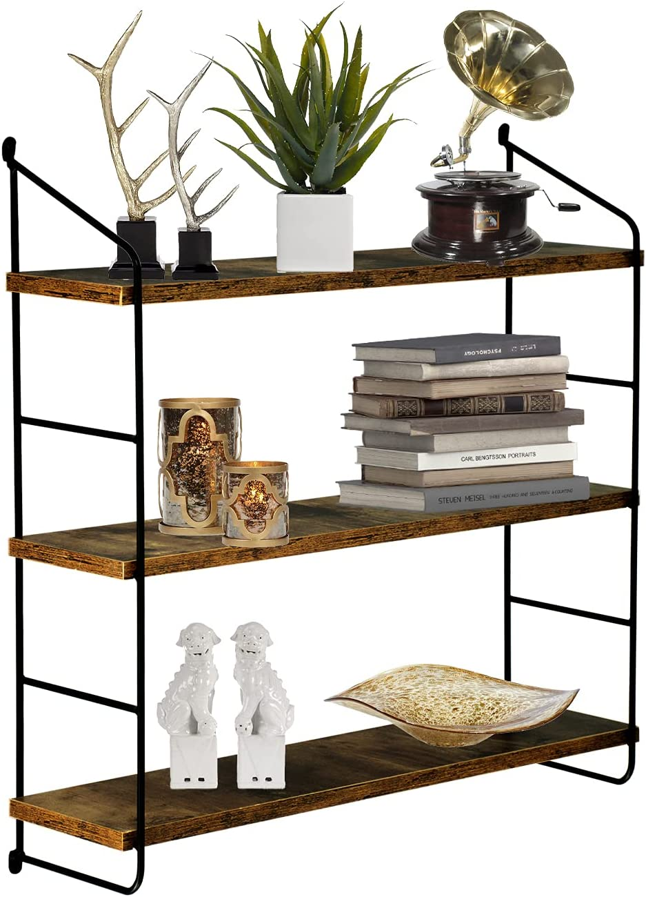 Floating Shelves for Wall,Industrial Shelves,Metal Brackets Wall Mounted Shelves,Rustic Brown Wall Decor Set (3 Tier)