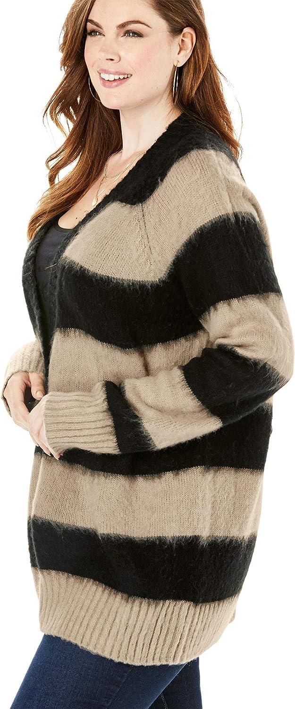 Roamans Womens Plus Size Deep V Button Cardigan