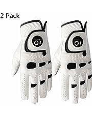 Finger Ten Guantes de Golf para Hombre de Mano Izquierda Derecha con Marcador de Bola, Paquete de 2, Agarre Suave y cómodo, Talla pequeña, Mediana, Grande, XL
