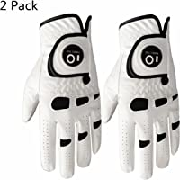 Men's Golf Glove Left Right Hand with Ball Marker Value 2 Pack, Weathersof Grip Soft Comfortable, Fit Size Small Medium ML Large XL