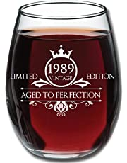 Birthday 15oz Stemless Wine Glass- Vintage Aged To Perfection - Unique Anniversary Gift Idea for Best Friend, Mom, Dad, Wife, Husband, Sister, Women, Men - Perfect Gifts