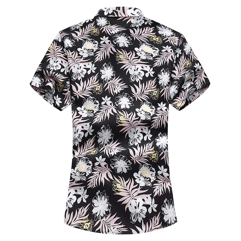 EELa Mens Shirt Short Sleeve Printed Floral Flower Leaf Casual Button Down Collar Summer Aloha Hawaiian M